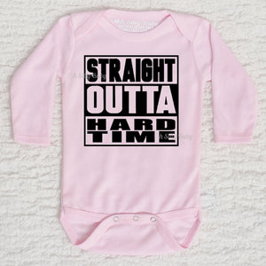 Straight Outta Hard Time Long Sleeve White Onesie