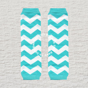 Teal and White Chevron Baby Leg Warmers