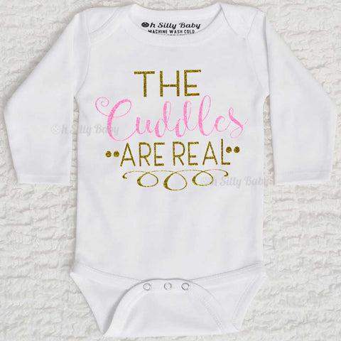 The Cuddles Are Real Glitter Long Sleeve White Onesie