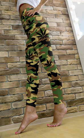 Green and Tan Camo Leggings