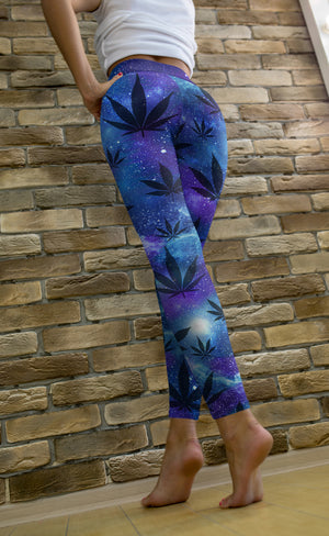 Blue Galaxy Leggings with Black Leaves