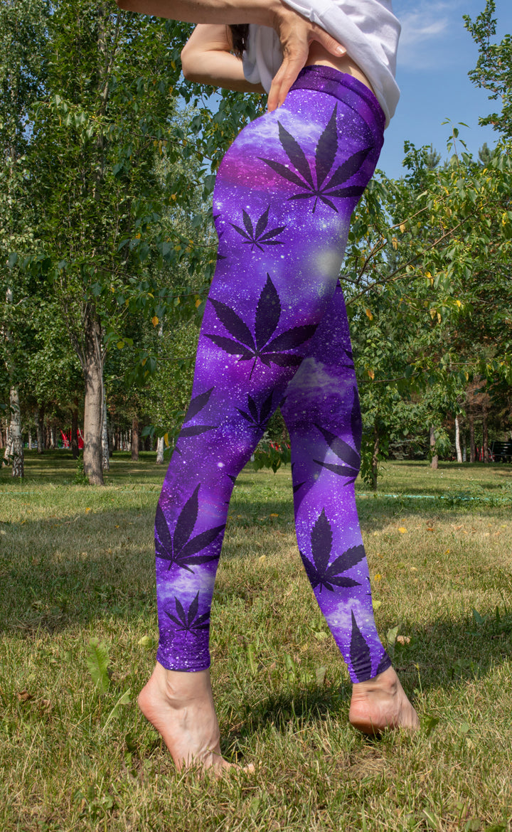 Purple Galaxy Leggings with Black Leaves