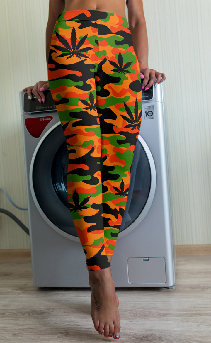 Orange and Green Camo Leggings