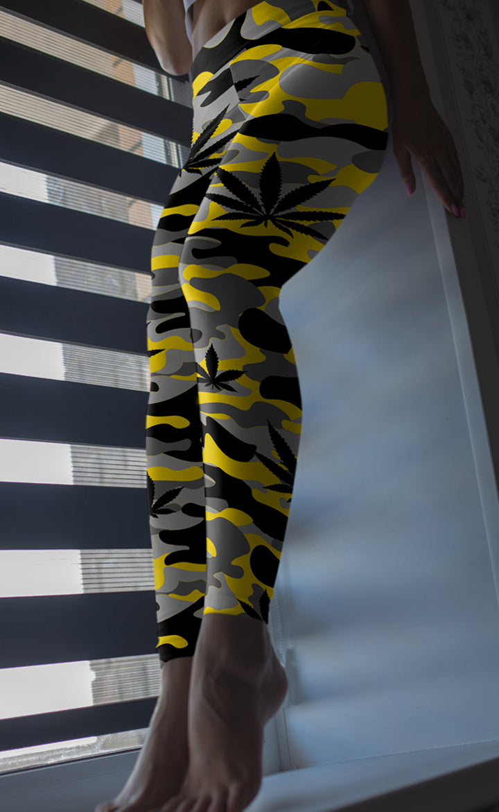 Yellow & Grey Camo Leggings