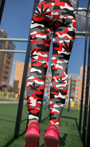 Red & Grey Camo Leggings