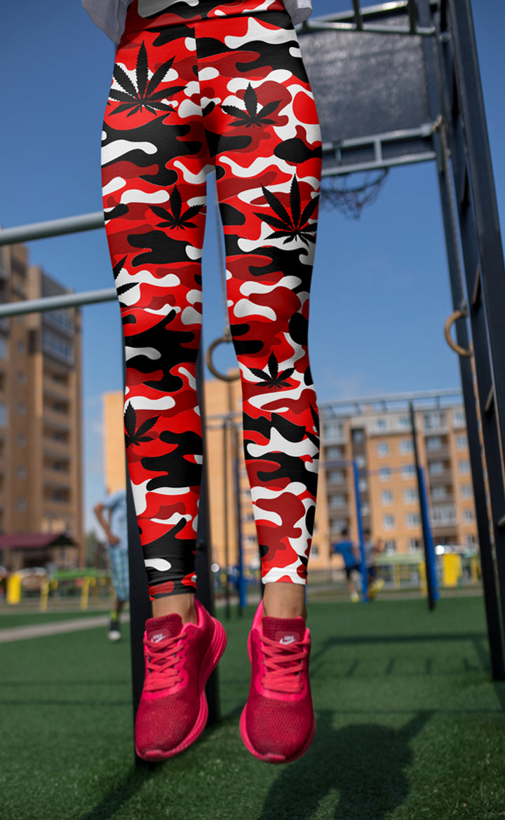 Red & White Camo Leggings