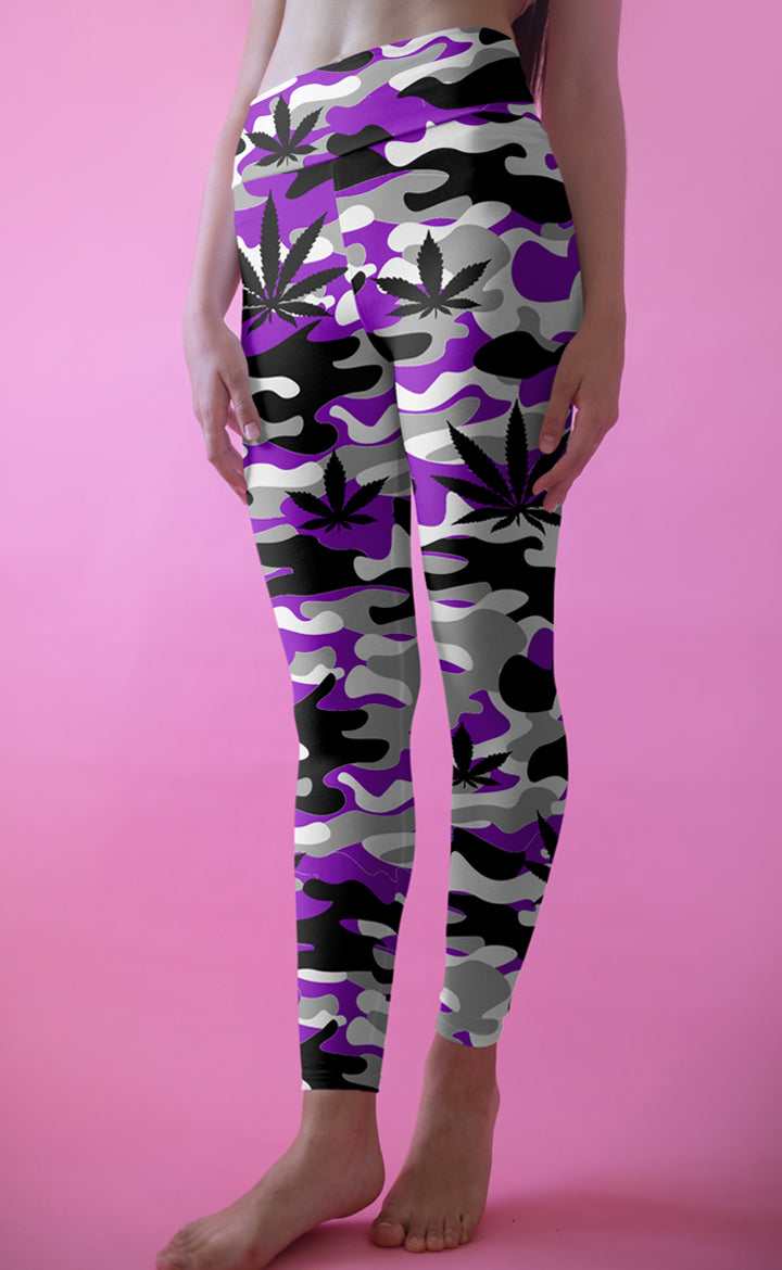 Purple and Grey Camo Leggings
