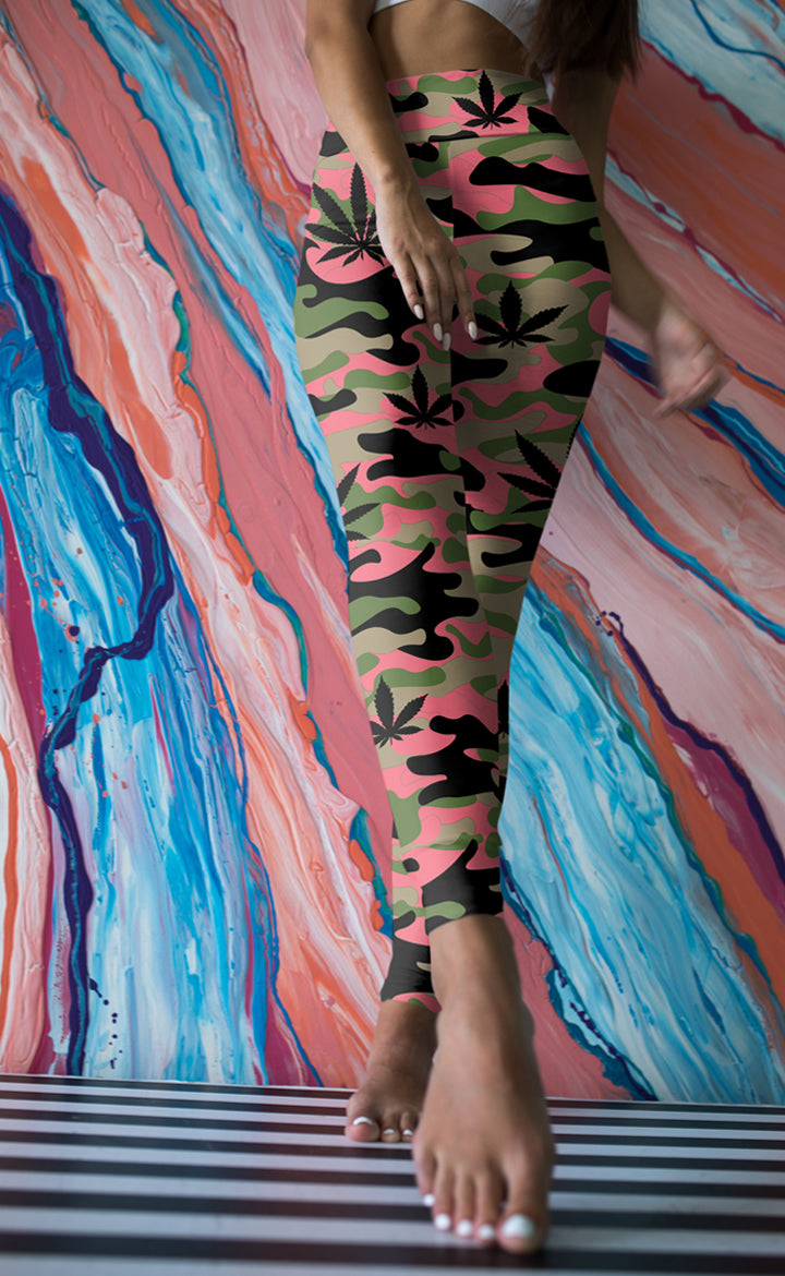 Green and Pink Camo Leggings