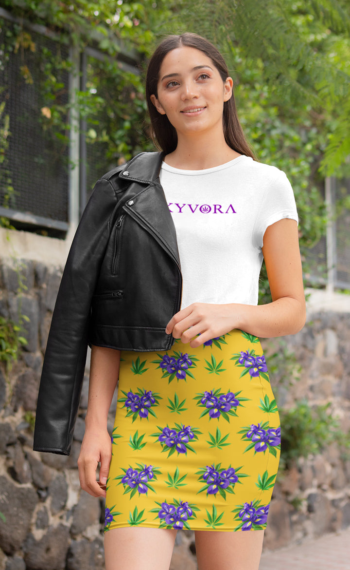 Iris Yellow Pencil Skirt