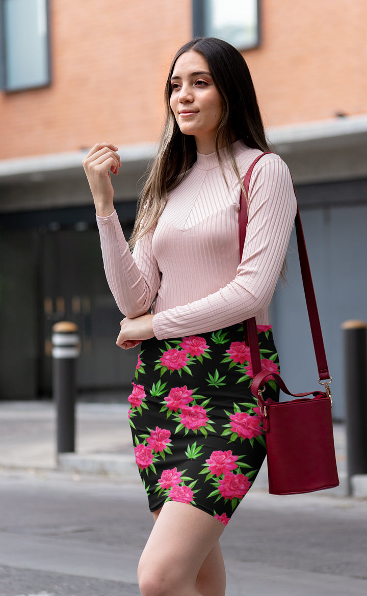 Pink Rose Black Pencil Skirt