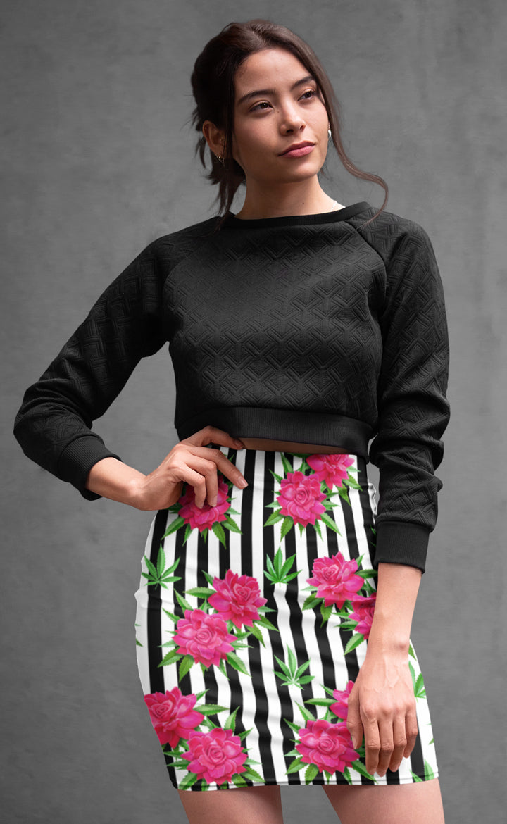 Pink Rose Pencil Skirt