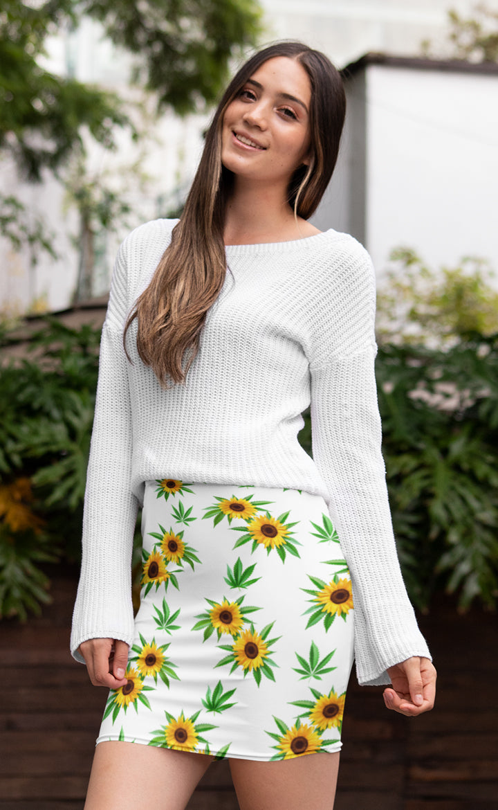 Sunflower White Pencil Skirt
