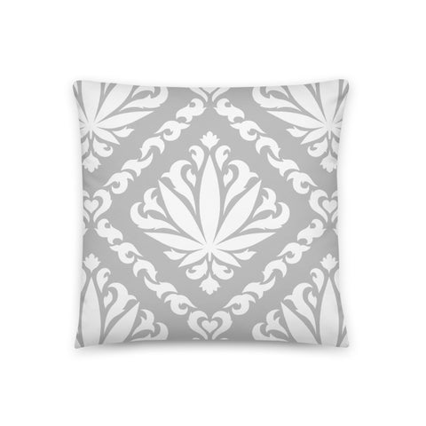 Grey Damask Leaf Pillow