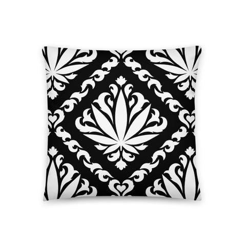 Black Damask Leaf Pillow