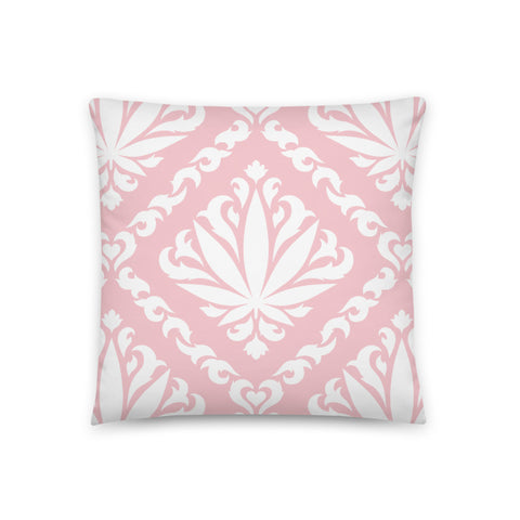 Pink Damask Leaf Pillow