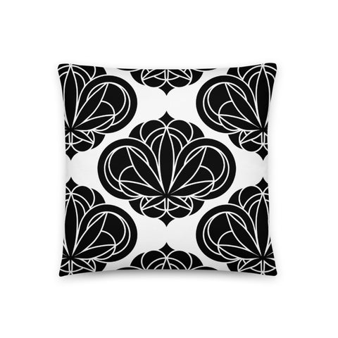 Black Round Damask Pillow