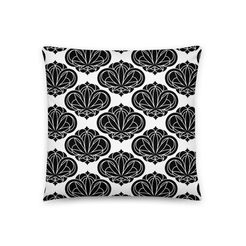 Black Round Damask Pattern Pillow