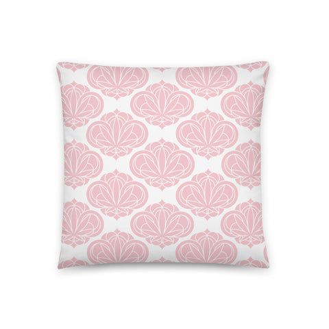Pink Round Damask Pattern Pillow