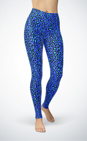Blue Leopard Leggings