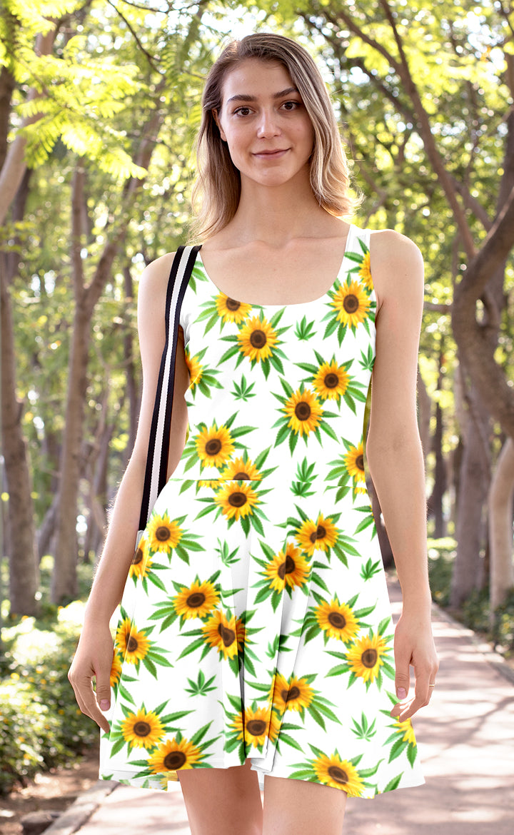 Sunflower White Skater Dress