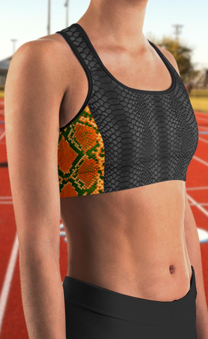 Snakeskin Striped Sports Bra