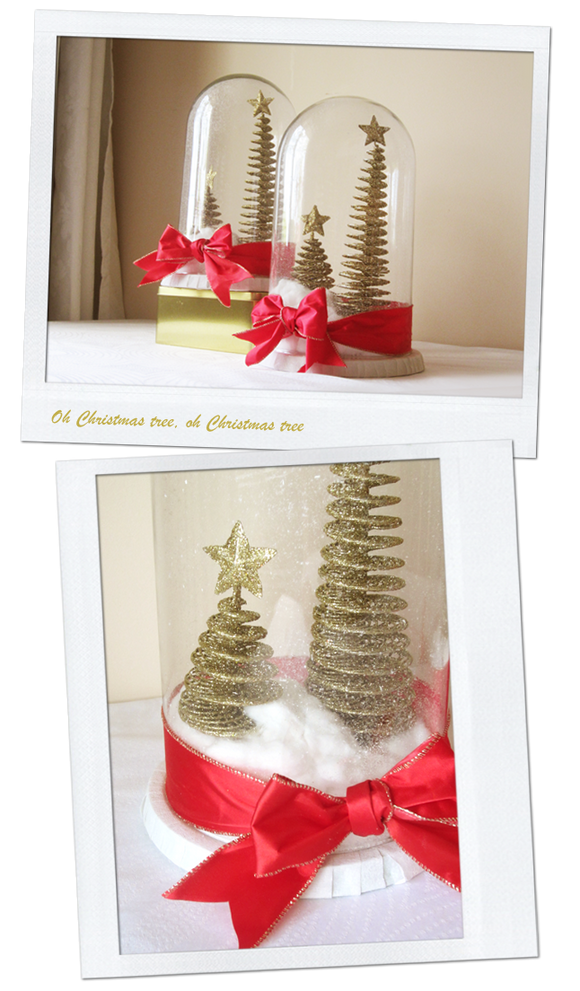 Merry Christmas - DIY snow globe centrepieces