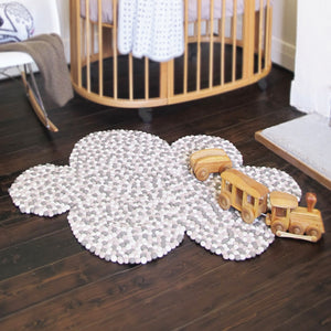 The Homely Creatures Neutral Felt Ball Cloud Rug!