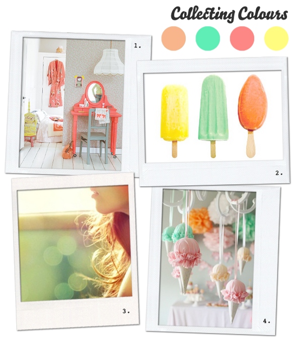Collecting Colours - Mint, Peach and Yellow