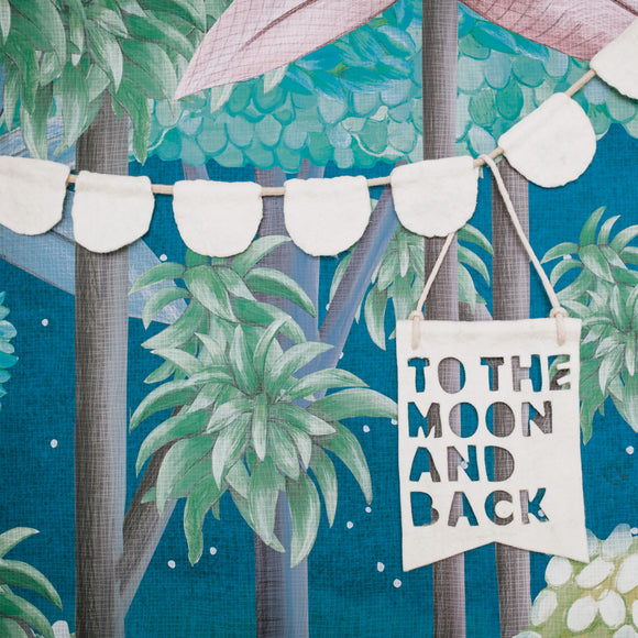 I love you to the moon and back | petal bunting | felt bunting | wall banners | Homely Creatures