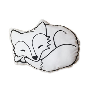 Fox Cushion | Black and White Fox Shaped Cushion