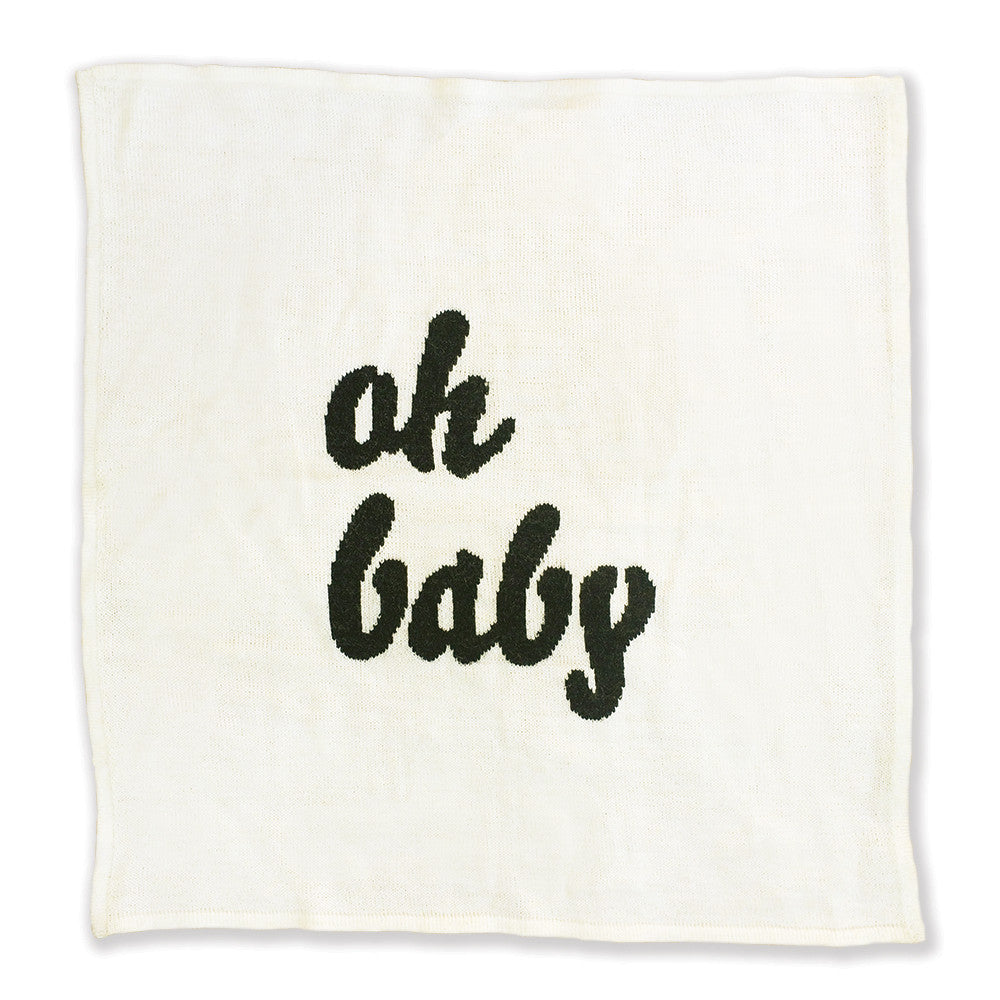 Knitted Oh Baby Blanket - Cream