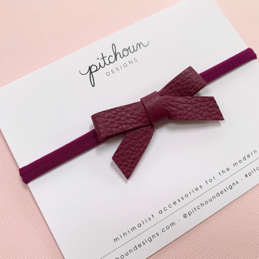 Paulette bow headband - (Cranberry)