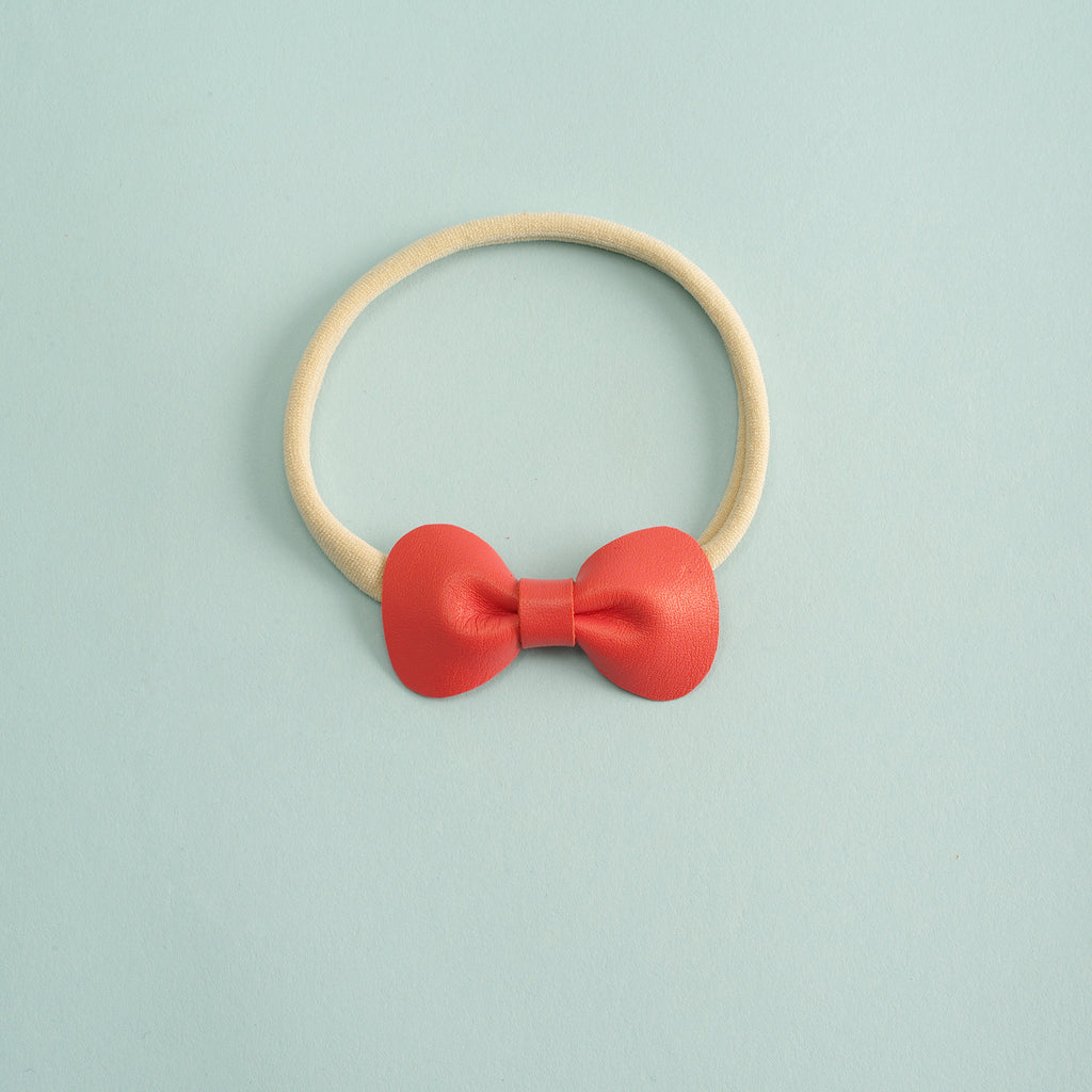 Petite Rose Bow headband - (Coral)