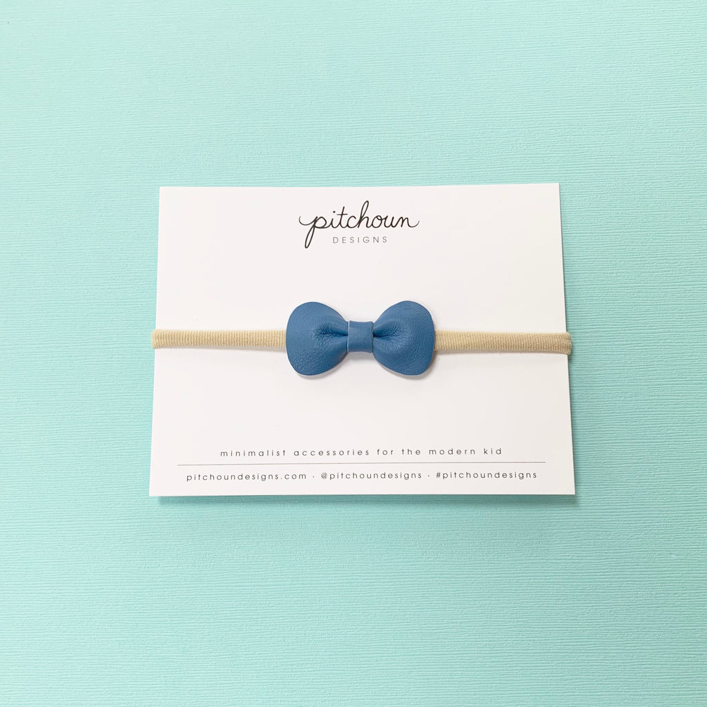 Petite Rose Bow headband - (Cornflower Blue)