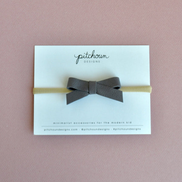 Paulette bow headband - (Lavender Grey)