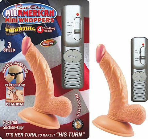 All American Mini Whoppers Curved Vibrating Suction Cup 4 Inch Dildo Package 2