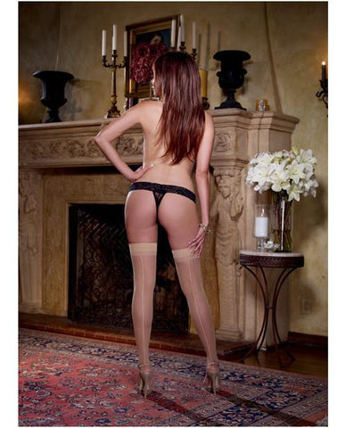Sheer Thigh Highs with Back Seam - Nude Queen