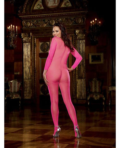 Fishnet Long Sleeved Open Crotch Bodystocking - Pink O/S Back