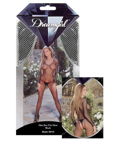 Fishnet Long Sleeved Open Crotch Bodystocking - Black O/S Back
