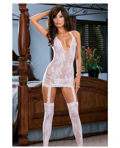 Floral Lace Halter Dress with Attached Garters & Thigh Highs
