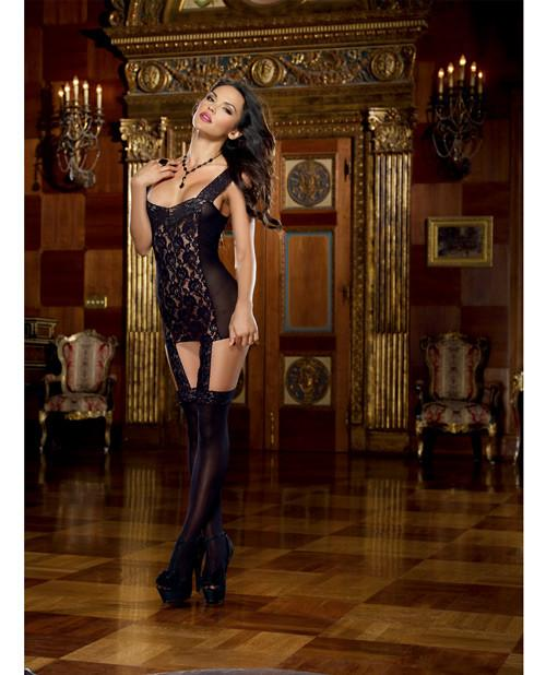 Lace Garter Dress with Lace-Up Back & Stockings Attached