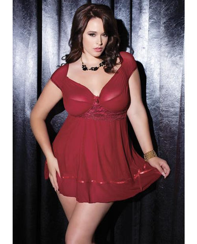 Mesh Babydoll with Cap Sleeves & G-String