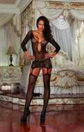 Fishnet Garter Dress w/ Thigh Highs Black OS