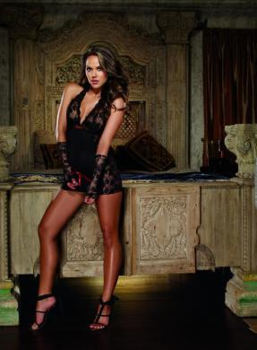 Chemise & Thong With Glove Restraints Black O/S 1