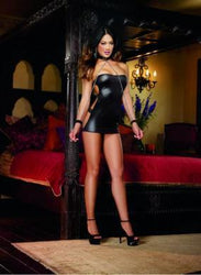 Shiny Chemise Thong & Restraint Set Black O/S