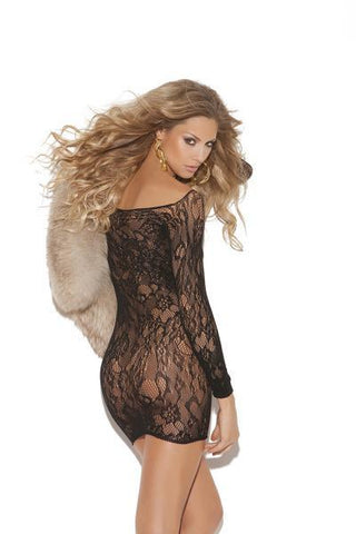 Long Sleeve Lace Mini Dress Black O/S 2