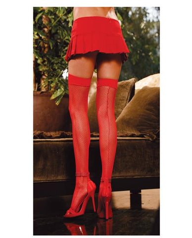 Red Fishnet Thigh Highs with Backseam Back