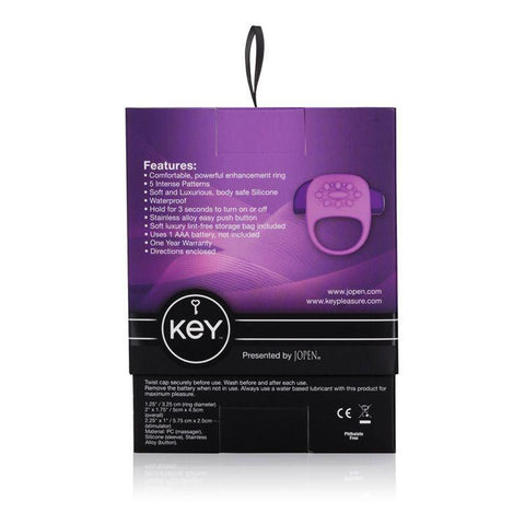 Jopen Key Halo Vibrating Cock Ring Package - Back