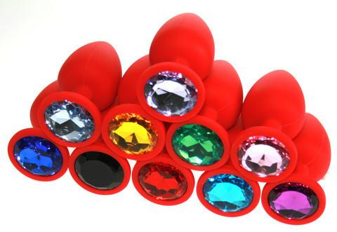 Small Soft Silicone Jeweled Butt Plug (14 Colors!) - Red Pyramid