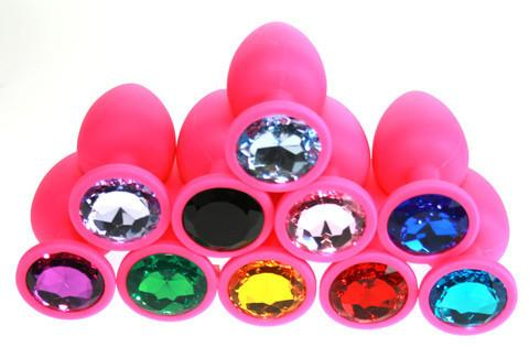 Small Soft Silicone Jeweled Butt Plug (14 Colors!) - Pink Pyramid